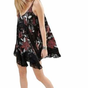 Free People She Swings Mini Dress Sheer lace